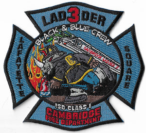Cambridge, MA Ladder 3 Black & Blue Crew Fire Patch