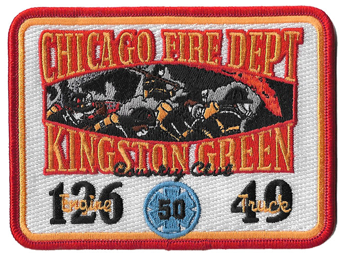 Chicago Fire Dept. E 126 T 49 Kingston Green Rectangle Fire Patch