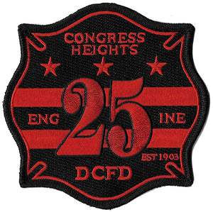 DCFD Engine 25 Congress Heights Est. 1903 Black & Red NEW Fire Patch