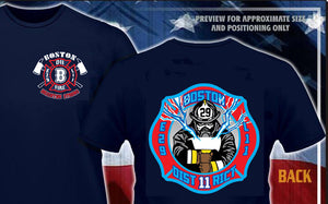 Boston Fire Engine 29 Ladder 11 D-11 Brighton Strong Navy or Ash Tee Size up to 6XL
