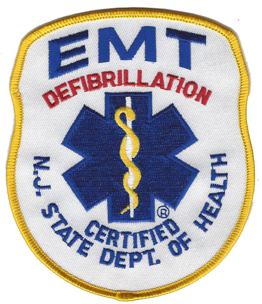 EMT DEFIBRILLATION CERITIFIED NJ STATE DEPT. OF HEALTH  FIRE PATCH