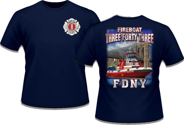 Fdny fireboat 343 tee shirt eagle emblems graphics for Custom t shirts manchester ct