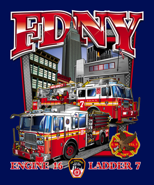 Fdny e16 tl7 empire state building tee eagle emblems for Custom t shirts long island ny