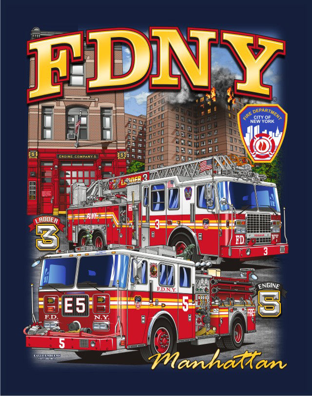 FDNY E-5 L-3 'RECON'  Manhattan Navy Tee