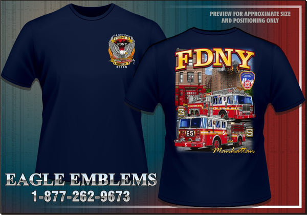 Fdny e 5 l 3 39 recon 39 navy tee eagle emblems graphics for Custom t shirts manchester ct