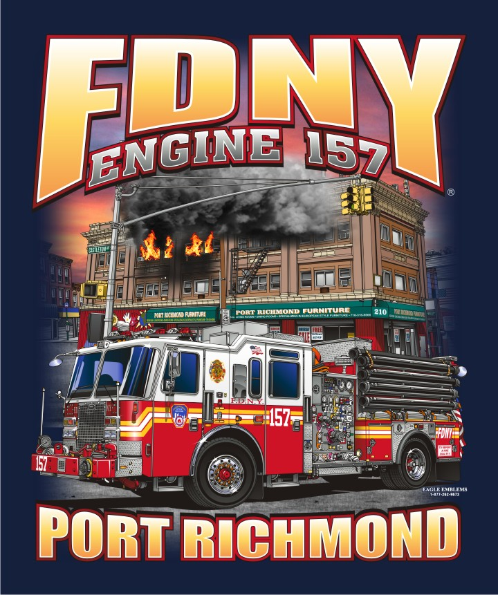 FDNY E-157 Port Richmond Navy Tee