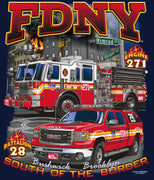 "FDNY E-271 Batt. 28  ""South of the Border"" Bushwick, Brooklyn Multicolored  Tee"