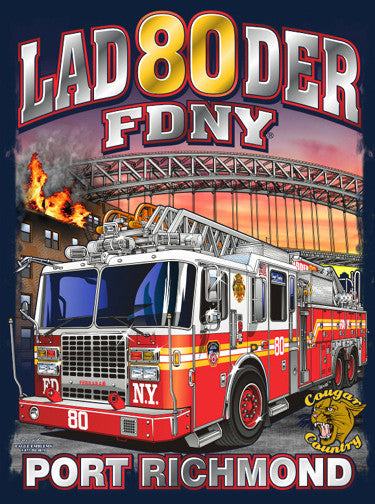 FDNY Ladder 80 Port Richmond Navy Tee
