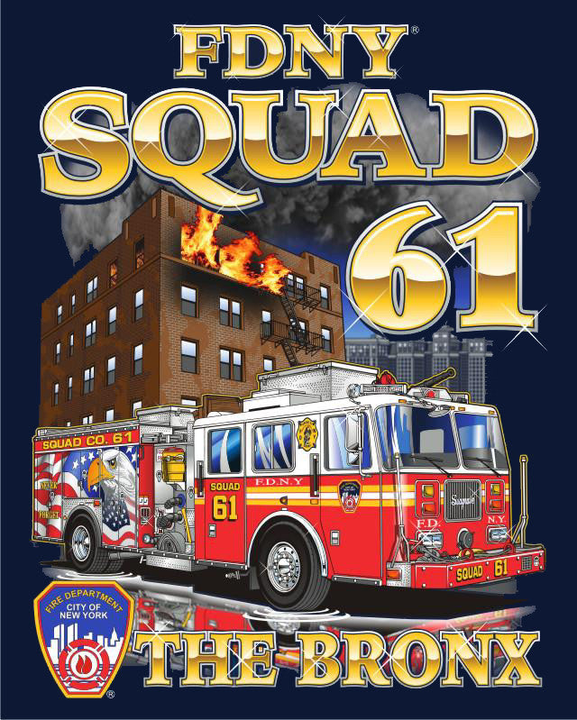 "FDNY Squad 61 ""The Bronx"" Navy Tee"