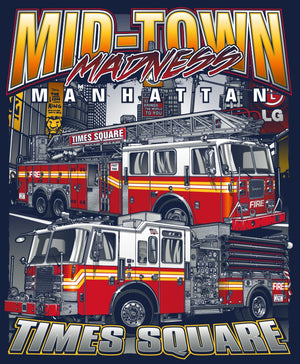 "New York City Times Square ""Midtown Madness"" Navy Fire Tee"