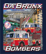 "New York City ""Da Bronx Bombers"" Navy Fire Tee Up to 6XL"