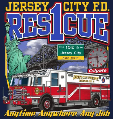 Jersey City, NJ Rescue 1 Anytime, Anywhere, Any Job Navy Tee