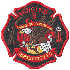 "Jersey City Fire Dept.  Engine 9 ""PRIDE OF 4TH BATTALION""  Patch"