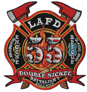 LAFD Station 55 Battalion 2 Double Nickel Axe Fire Patch