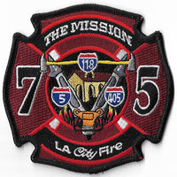LAFD Station 75 The Mission Dark Red Patch