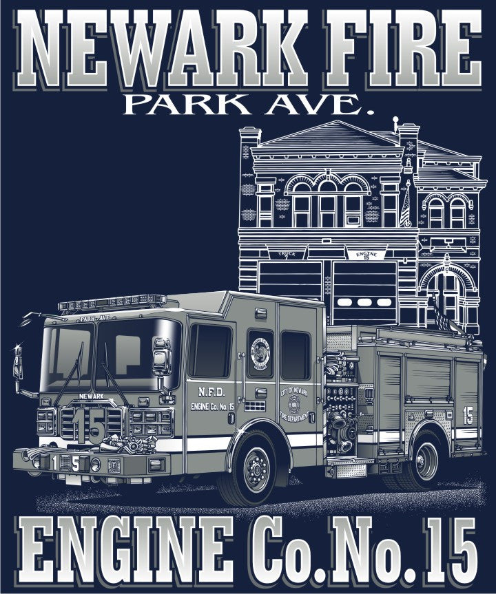 NEWARK FIRE DEPT. ENGINE CO. NO.15 PARK  Navy Tee