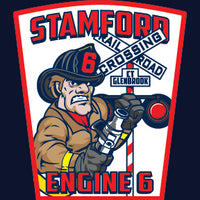 Stamford, CT Engine 6 Rail Road Crossing Navy Tee