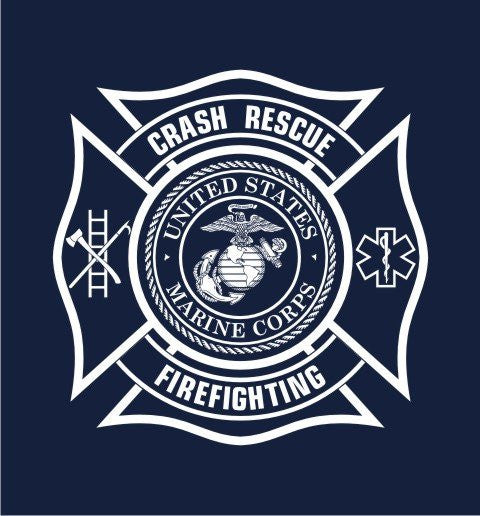 U S Marine Corps Crash Fire Rescue Multi Color Navy Tee