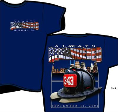 9-11 Always Remembered Navy Tee - SMALL ONLY