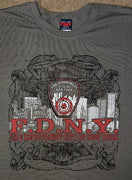 FDNY Charcoal Grey Skyline / Dragon Fire Tee Front Print Only $15 Sale!