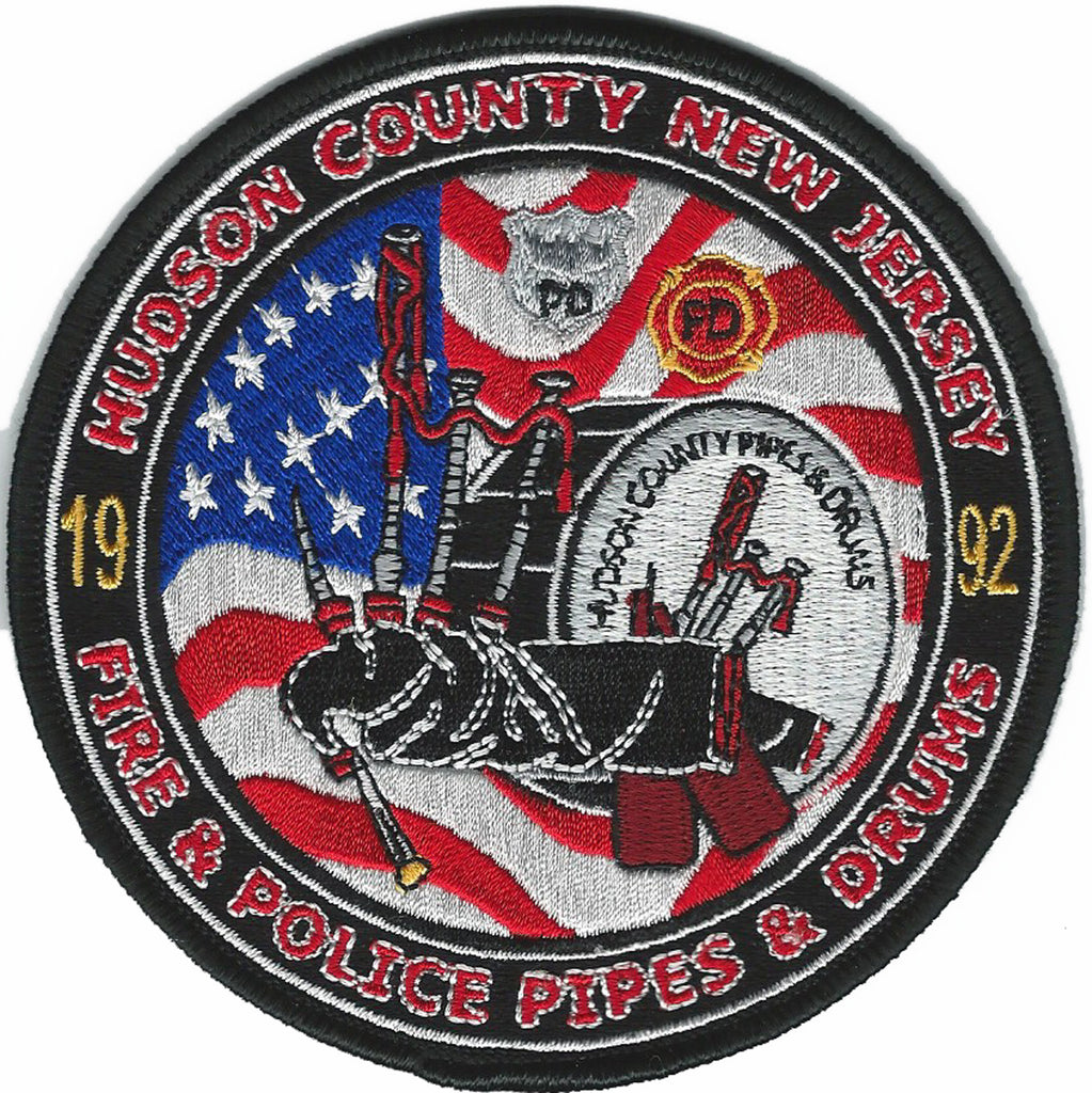 Hudson County New Jersey Pipes & Drumflag Design Patch
