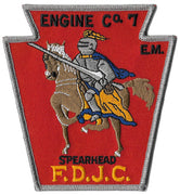 Jersey City Engine 7 Spearhead Red Design Patch