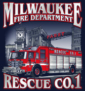Milwaukee Rescue 1 Navy Tee Pabst Beer Brewery
