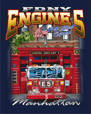 FDNY Engine 5 14th St. Express Manhattan Multicolored Fire Tee