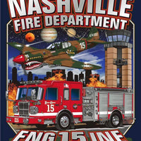 Nashville Engine 15 Flying Tiger Navy Tee- Small & Medium Only