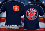 Boston Fire Baseball Design Navy Tee