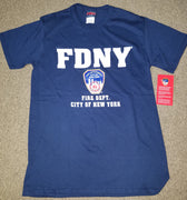 FDNY City of New York Navy Tee - Short Sleeve - Front Print - SMALL Only