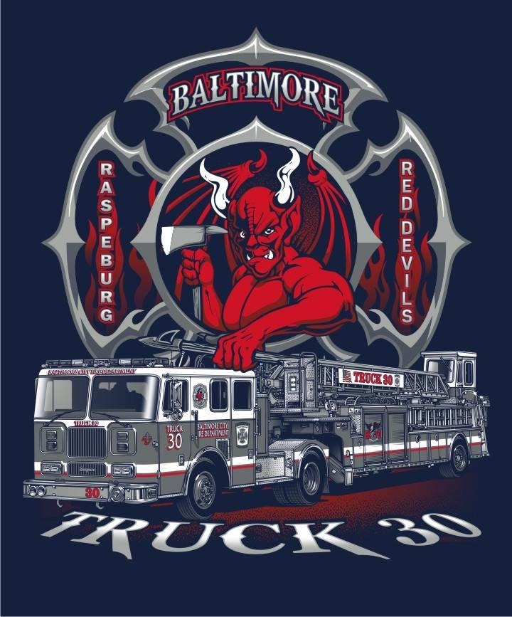 Baltimore Truck 30 Red  Devil  Navy Tee