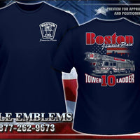 "Boston Tower Ladder 10 ""Jamacia Plain"" Navy Tee"