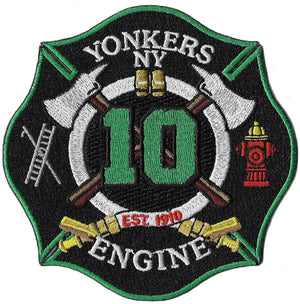 Yonkers, NY Engine 10  Green - Red Hydrant Patch