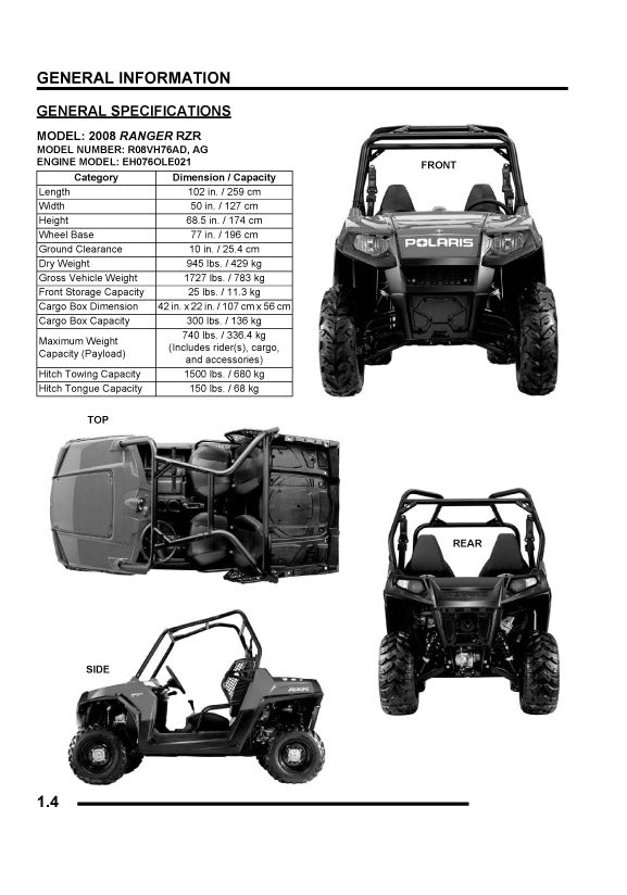 Full Service Manual for Polaris ATV Ranger RZRInstant