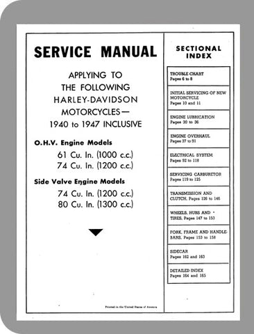 1940 to 1947 Harley-Davidson Knucklehead Full Service Manual