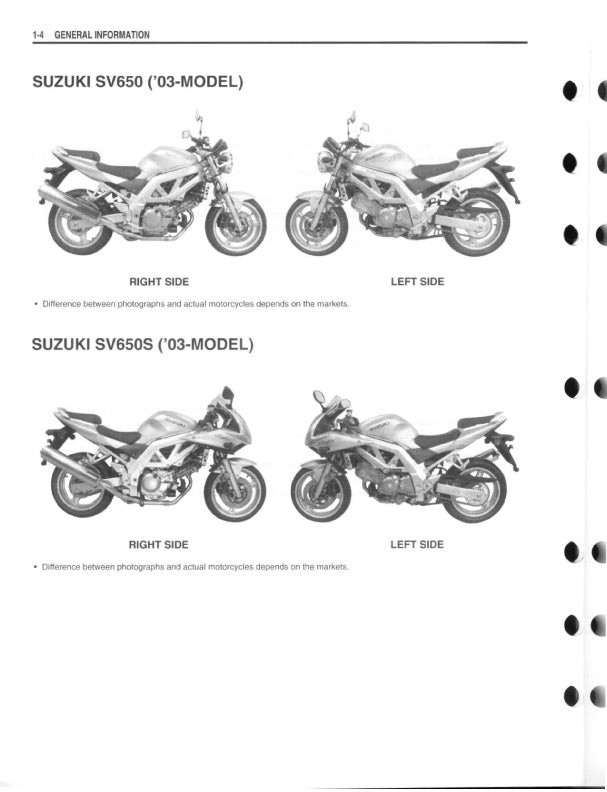 Full Service Manual for Suzuki Motorcycle SV650Instant