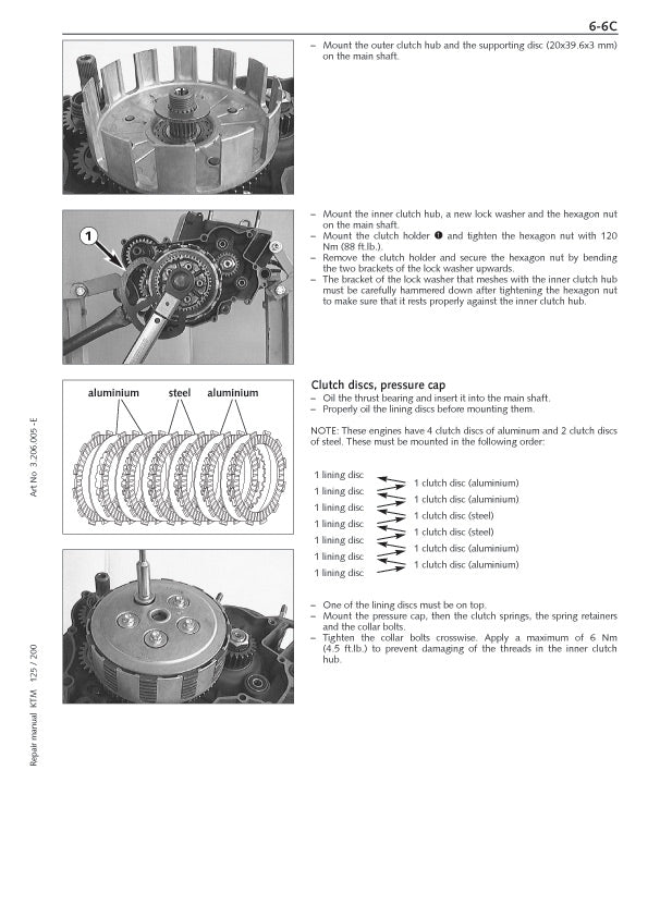 Full Engine Service Manual for KTM Motocross 125 / 200
