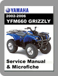 2002 to 2006 Yamaha YFM660 Grizzly Service Manual & Microfiche