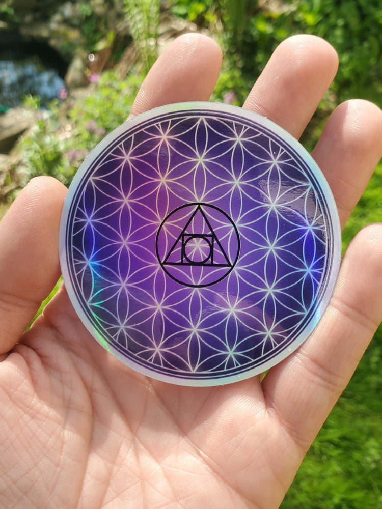 "Alchemical Flower of Life Holographic Sticker 3"" - InnerVision Crystals"