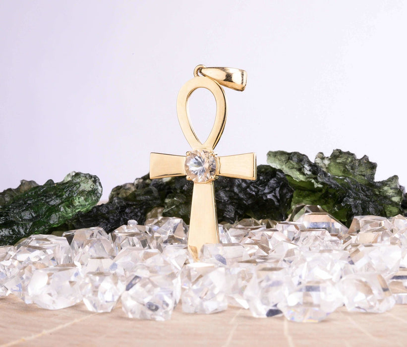 Ankh Pendant | Herkimer Diamond Gemstone - InnerVision Crystals