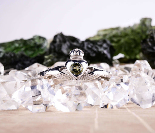 Claddagh Ring | Moldavite Gemstone - InnerVision Crystals