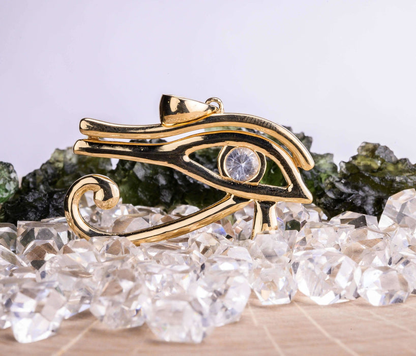 Eye of Horus Pendant | Herkimer Diamond Gemstone - InnerVision Crystals