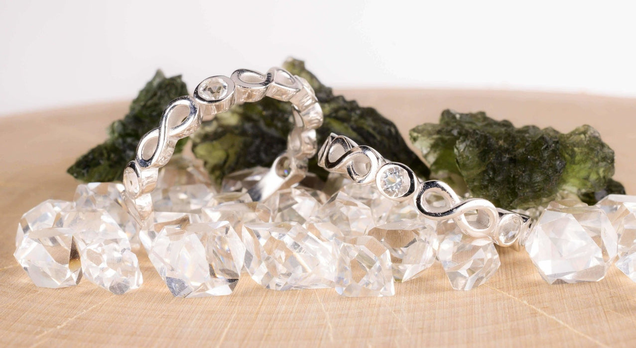 Herkimer Diamond Infinity 5 Stone Ring - InnerVision Crystals