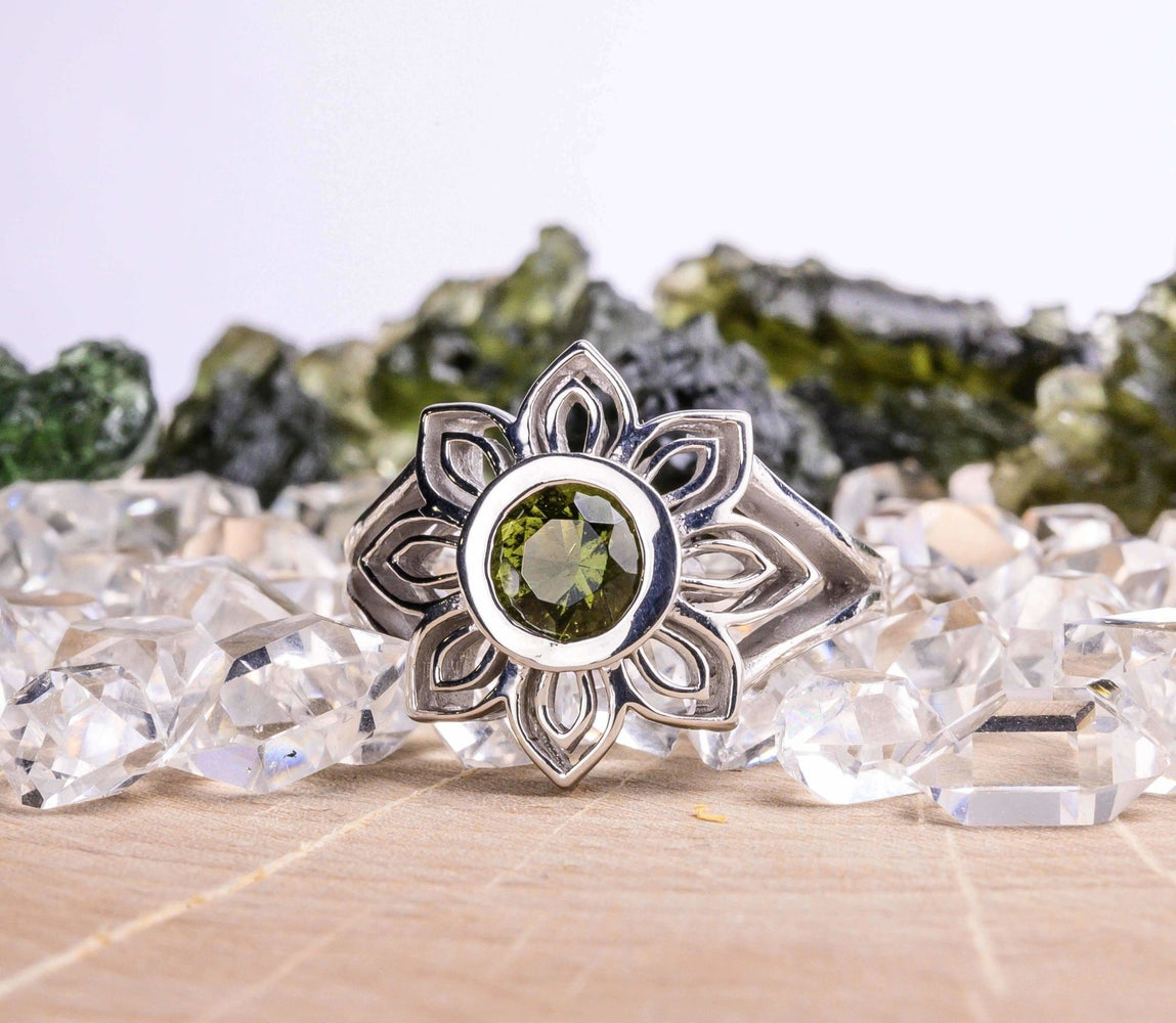 Lotus Ring | Moldavite Gemstone - InnerVision Crystals