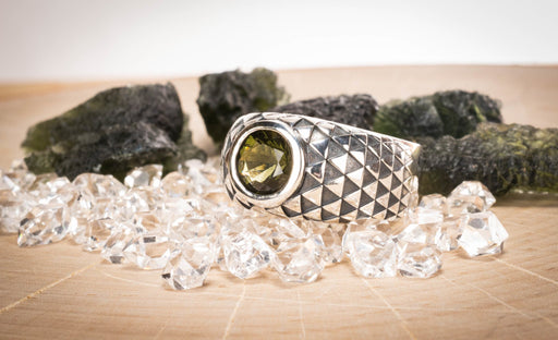 Moldavite Mens Sunflower Ring 8mm Gemstone - InnerVision Crystals