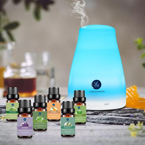 100% Pure Essential Oils 10ML 6pcs Aromatherapy Eucalyptus Peppermint Lemongrass Orange Tea Tree zen of sleep