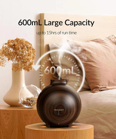 wood orb circle shaped essential oil diffuser and humidifier