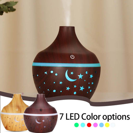 300 ML  LED Wood with Night Scene Cut Outs Ultrasonic Essential Oil Diffuser