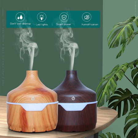 300ML Home Office USB Wood Grain Aromatherapy Essential Oil Diffuser Ultrasonic